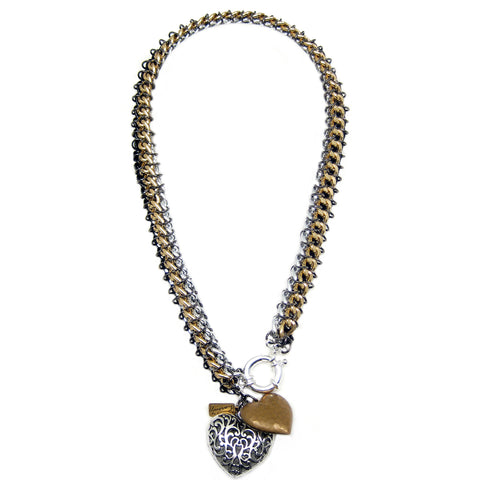 #112n Silver/Gold/Black Chain Mail Rope Necklace With Hearts