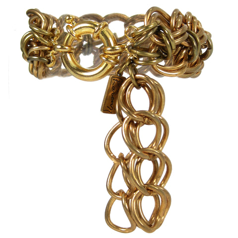 #113b Gold Tone Chain Mail Bracelet With Tassel