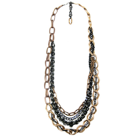 #116n Gold/Black/Gunmetal Intervoven Multi Strand Chain Necklace