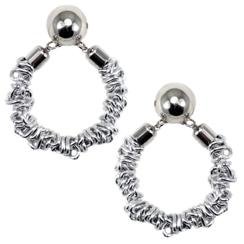 #119e Silver Tone Deconstructed Chain Hoop Earrings