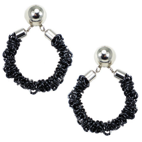 #120e Black & Silver Tone Deconstructed Chain Hoop Earrings