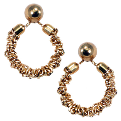 #121e Gold Tone Deconstructed Chain Hoop Earrings