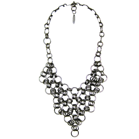 #122n Gunmetal Ring Bib Necklace