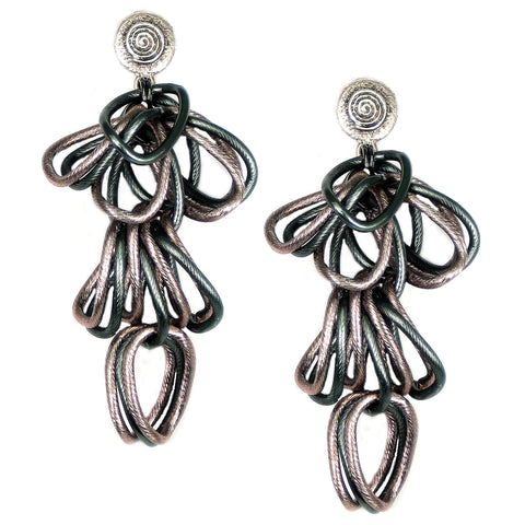 #128e Gunmetal & Copper Tone Cascade Ring Earrings
