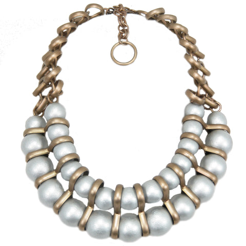 #136n Silver Lacquered Wood Bead & Gold Tone Chain Necklace