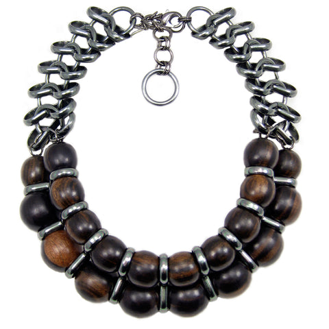 #137n Ebony Wood Bead & Gunmetal Chain Necklace