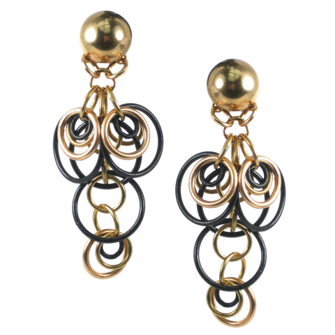#142e Gold Tone & Black Linked Ring Earrings