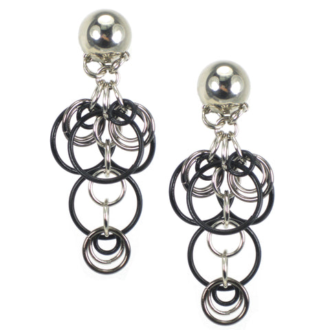 #143e Silver Tone & Black Linked Ring Earrings