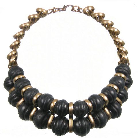 #143n Black Wood Bead & Gold Tone Chain Necklace