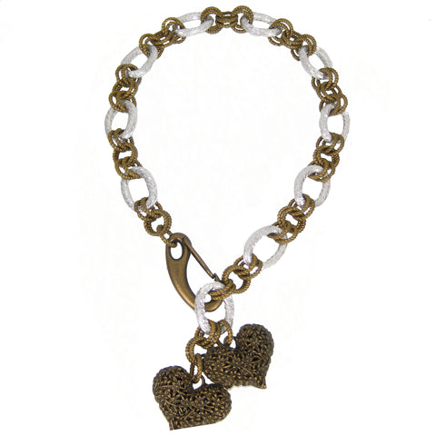 #150n Old Gold & Silver Tone Chain Link Necklace with Filigree Hearts