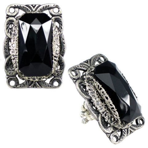#815r Oversized Jet Cabochon & Silver Tone Filigree Ring