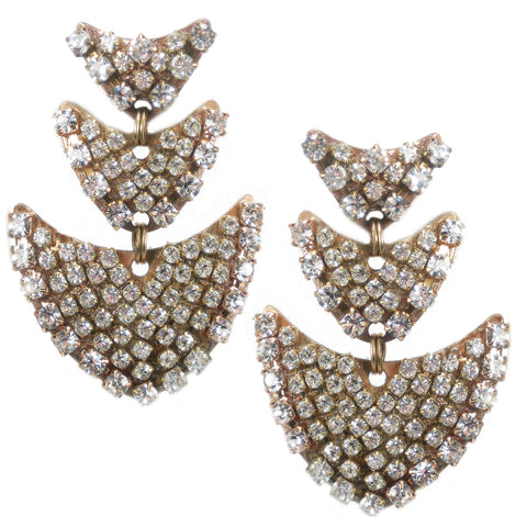 #420e Gold Tone & Rhinestone Drop Earrings