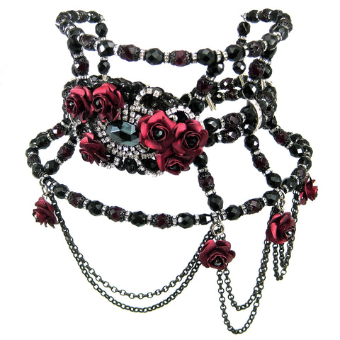 #478n Vintage Inspired Jet, Ruby & Rhinestone Tall Choker With Roses & Chain Bib
