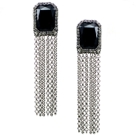 #479e Jet Cabochon, Rhinestone & Silver Tone Chain Tassel Earrings