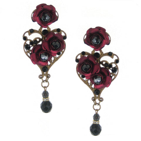 #518e Old Gold Tone Filigree, Jet and Ruby Floral Earrings