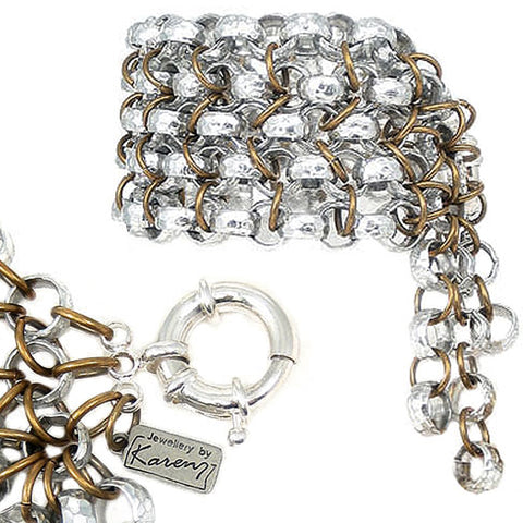 #587b Silver & Gold Tone Chainmaille Bracelet With Tassel