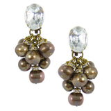#587e Copper Tone Fresh Water Pearl & Rhinestone Cluster Drop Earrings With Cabochon