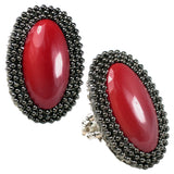 #661r Gunmetal/Vintage Red Cabochon Oval Ring