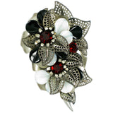 #690p Pewter Tone Filigree Floral Pin with White, Black, Red Bead Detail