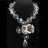 #692n Gunmetal Floral Cross Pendant On Large Crystal Bead Necklace