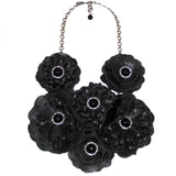 #756n Black Leather, Jet & Rhinestone Floral Bib Necklace