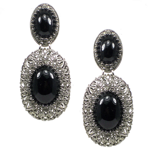 #775e Silver Tone Filigree Drop Earrings With Jet Cabochon