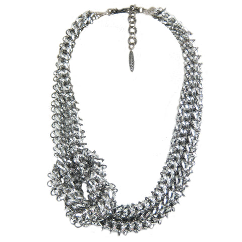 #776n Silver Tone Knotted Chain Mail Rope Necklace