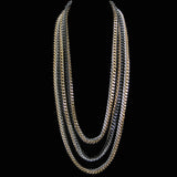 #780nL Silver/Gold/Black 3 Strand Chain Mail long Rope Necklace