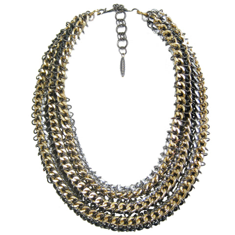 #780n Silver/Gold/Black 3 Strand Chain Mail Rope Necklace