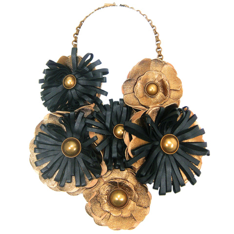 #781n Bronze & Black Leather Flower Oversized Bib Necklace
