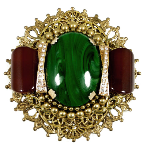 #783p Gold Tone Filigree, Green & Rust Stone Detailed Medallion Pin