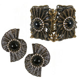 #786e Old Gold Tone Filigree, Jet & Rhinestone Earrings
