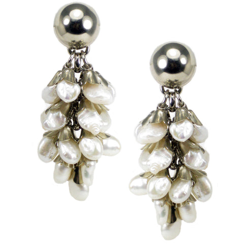 #788e Silver Tone & Fresh Water Pearl Cluster Drop Earrings