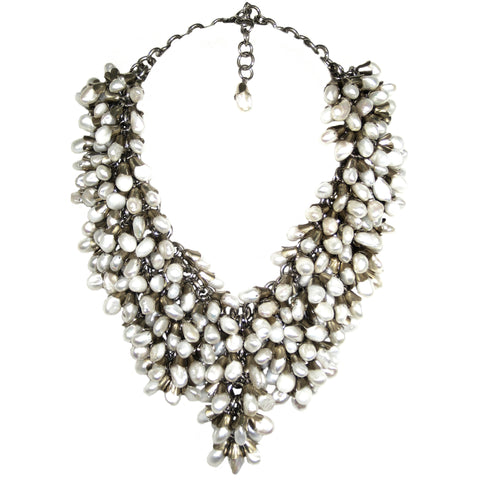 #788n Freash Water Pearl & Silver Tone Chainmail Bib Necklace