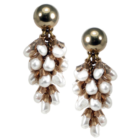 #789e Gold Tone & Fresh Water Pearl Cluster Drop Earrings