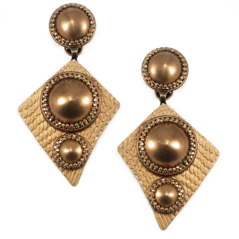 #790e Gold Tone Geometric Large Drop Earrings