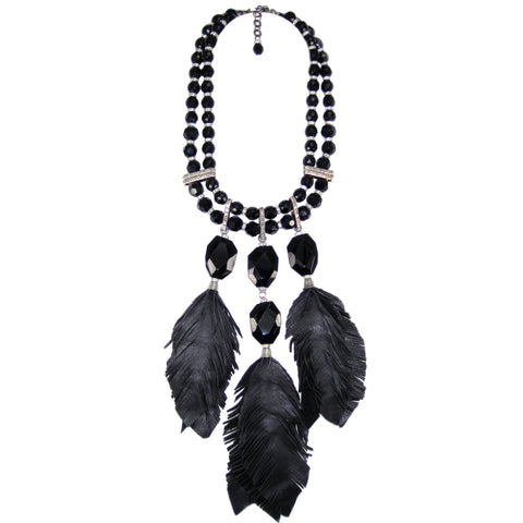 "#791n Jet Bead, Rhinestone & Leather ""Feather"" Bib Necklace"