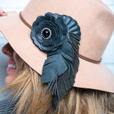 #791p Black Leather, Rhinestone, Flower & Feather Corsage Pin