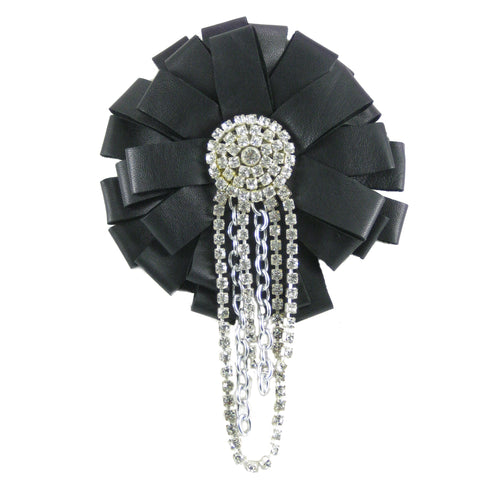 #793p Black Leather Ribbon Pin With Rhinestone & Chain Detail