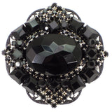 #802p Jet Stone On Filigree Deco Pin