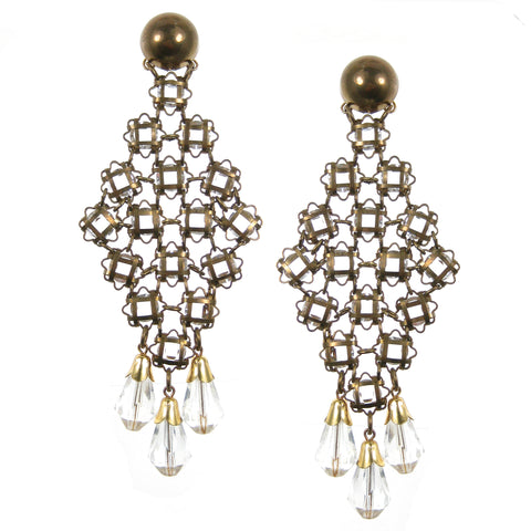 #803e Brass & Glass Vintage Bead Shoulder Duster Earrings