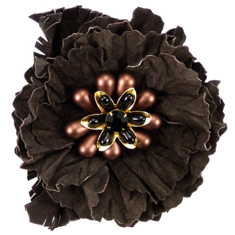 #903p Brown Leather Flower Corsage Pin