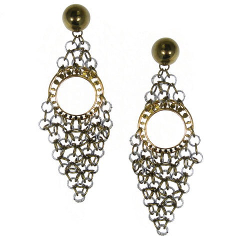 #804e Silver & Gold Tone Chainmail Oversized Earrings