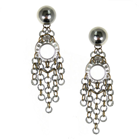 #806e Silver & Gold Tone Chainmail Long Fringed Earrings