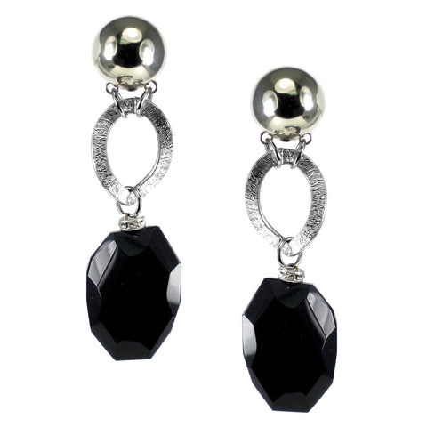 #809e Jet & Silver Tone Long Drop Earring