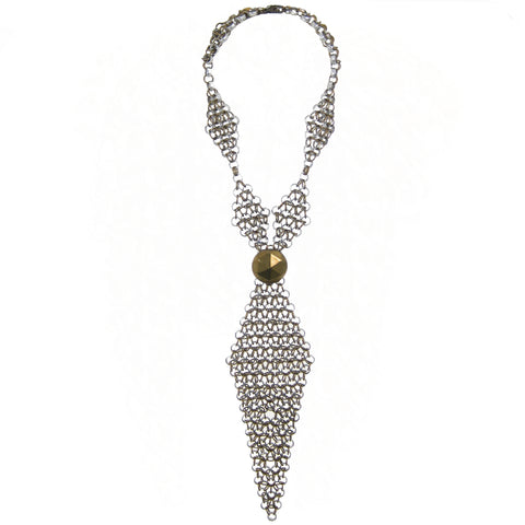 #810n Silver & Gold Tone Chain Mail Neck Tie Necklace With Brass Button