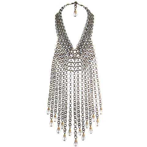 #812n Silver & Gold Tone Chain Mail Fringed Bib Necklace
