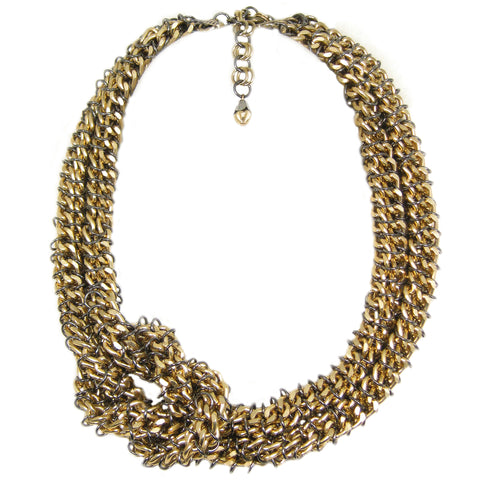 #813n Gold Tone Knotted Chain Mail Rope Necklace