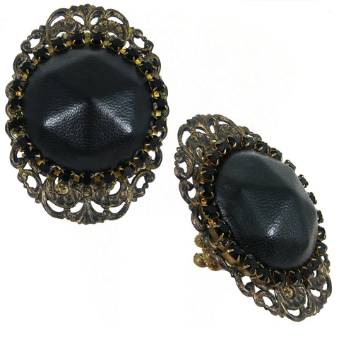 #814r Oversized Black Leather, Rhinestone & Old Gold Tone Filigree Ring