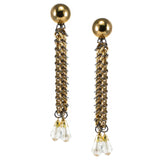 #815e Gold Tone Chain Mail Shoulder Duster Earrings With Crystal Drops